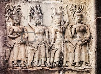 Carvings Of Women At Angkor Wat