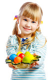 sweet little girl with plate of Easter eggs