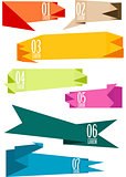 Origami banners set, vector
