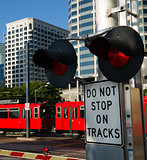 Stop Warning Signal Metro Transit Railroad Tracks Red Trolley Ca