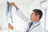 Male doctor examining xray