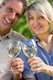 Loving couple toasting wine glasses