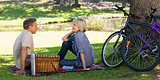 Couple enjoying picnic in park