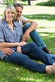 Loving couple relaxing in park