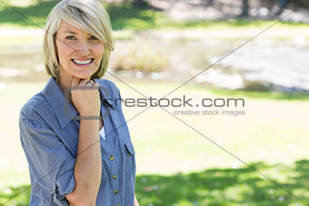 Beautiful woman smiling in park