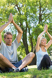 Couple meditating in the park