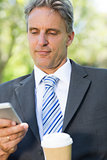 Businessman reading text message at park