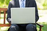 Midsection of businessman using laptop