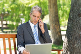 Businessman using cellphone and laptop in park