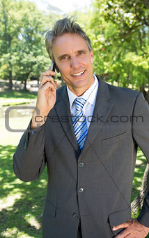Portrait of businessman on call