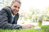 Happy businessman using laptop on grass