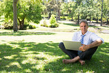 businessman with laptop sitting on grass