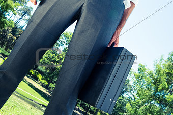 Businessman carrying briefcase at park