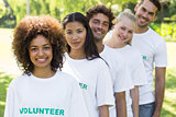 Volunteers standing in a line