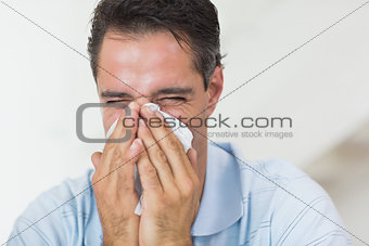 Closeup of a man suffering from cold