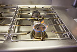 Gas stove with flame