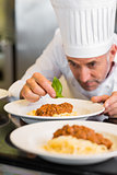 Male chef garnishing food in kitchen