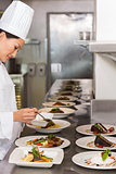 Female chef garnishing food in kitchen