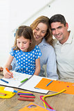 Happy family coloring at home