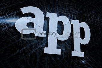 App against futuristic black and blue background