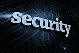Security against futuristic black and blue background