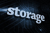 Storage against futuristic black and blue background