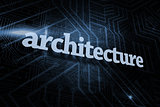 Architecture against futuristic black and blue background