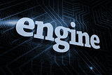 Engine against futuristic black and blue background