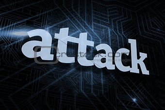 Attack against futuristic black and blue background