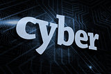 Cyber against futuristic black and blue background