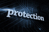 Protection against futuristic black and blue background