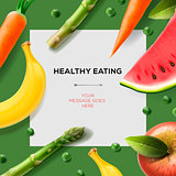 Healthy eating template with fruits