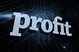 Profit against futuristic black and blue background