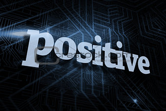 Positive against futuristic black and blue background
