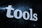 Tools against futuristic black and blue background