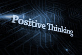 Positive thinking against futuristic black and blue background