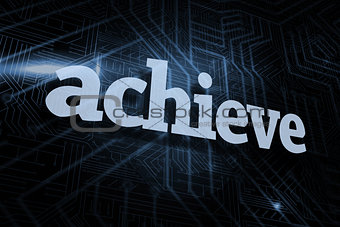 Achieve against futuristic black and blue background