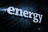 Energy against futuristic black and blue background