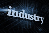 Industry against futuristic black and blue background