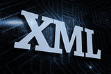 Xml against futuristic black and blue background