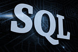 Sql against futuristic black and blue background