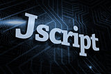 Jscript against futuristic black and blue background