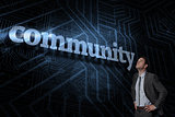 Community against futuristic black and blue background