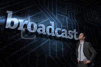 Broadcast against futuristic black and blue background