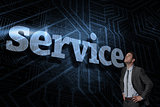 Service against futuristic black and blue background