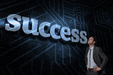 Success against futuristic black and blue background