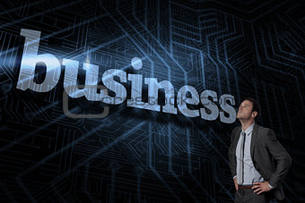 Business against futuristic black and blue background