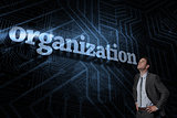 Organization against futuristic black and blue background