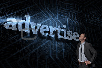 Advertise against futuristic black and blue background