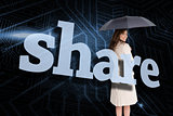 Businesswoman holding umbrella behind the word share